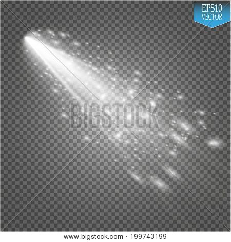 A bright comet with large dust and gas trails isolated. Vector Illustration. eps 10
