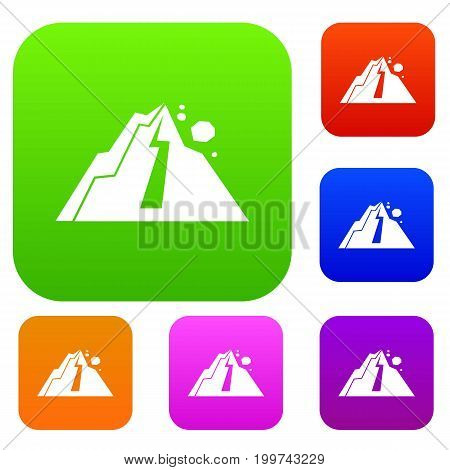 Rockfall set icon in different colors isolated vector illustration. Premium collection