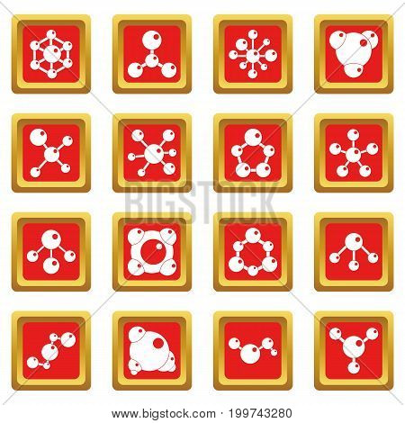 Molecule icons set in red color isolated vector illustration for web and any design