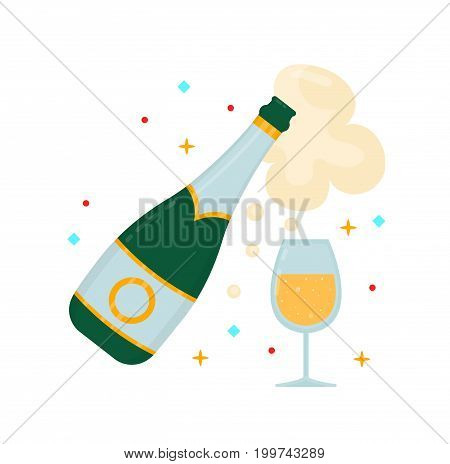 A bottle of champagne and a glass. Vector modern flat style cartoon character illustration. Isolated on white background. Win awardcelebrate concept