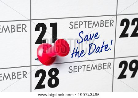 Wall Calendar With A Red Pin - September 21