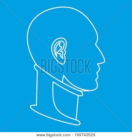 Cervical collar icon blue outline style isolated vector illustration. Thin line sign