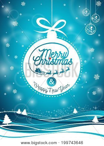 Vector Merry Christmas Holiday and Happy New Year illustration with typographic design and snowflakes on winter landscape background. EPS 10 illustration.