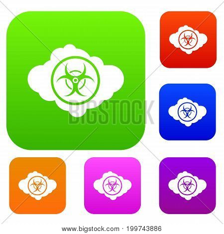Cloud with biohazard symbol set icon in different colors isolated vector illustration. Premium collection