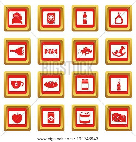 Shop navigation foods icons set in red color isolated vector illustration for web and any design