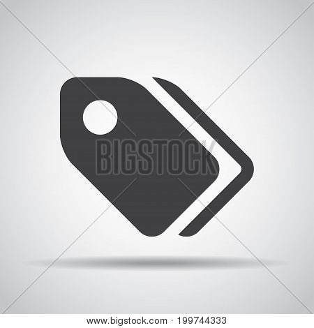 Tag icon with shadow on a gray background. Vector illustration