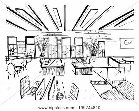 Hand drawn coworking cluster. Modern office interiors, open space. workspace with computers, laptops, lighting and place for rest. Black and white horizontal vector sketch illustration