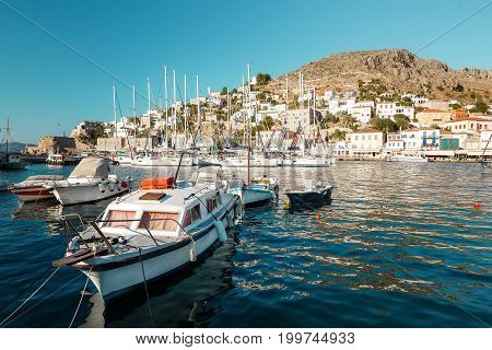 Hydra Greece - 06 June 2017: View of Hydras picturesque main port Saronic Gulf in Greece
