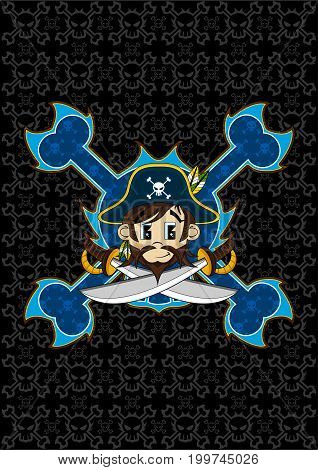 Cute Cartoon Pirate Captain with Skull and Crossbones