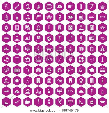 100 craft icons set in violet hexagon isolated vector illustration