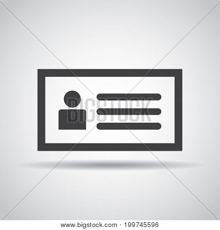 ID card icon with shadow on a gray background. Vector illustration