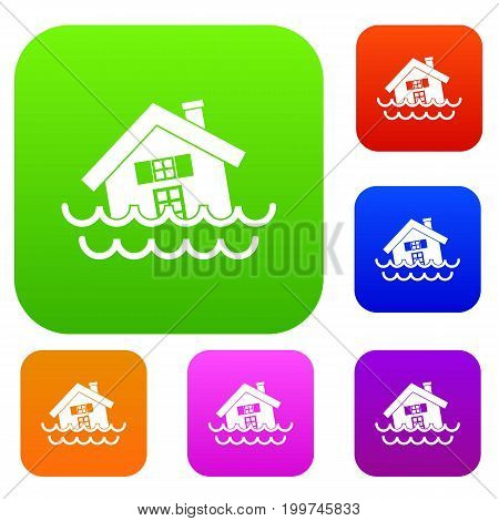 House sinking in a water set icon in different colors isolated vector illustration. Premium collection