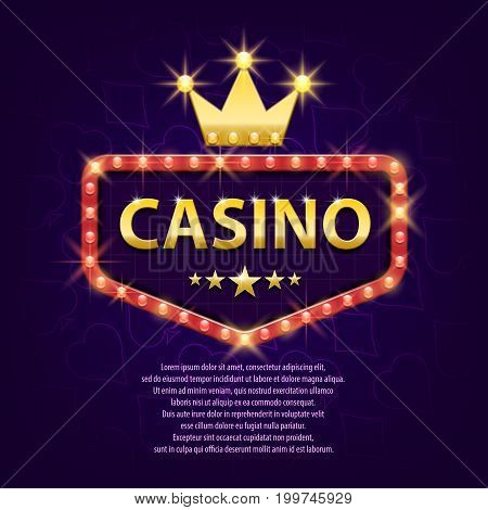 Casino retro light sign for game, poster, flyer, billboard, web sites, gambling club. Banner billboard casino glowing background . Vector illustration eps 10.