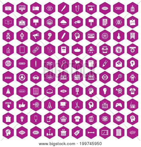 100 creative marketing icons set in violet hexagon isolated vector illustration