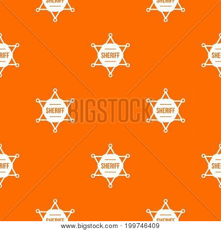 Sheriff badge pattern repeat seamless in orange color for any design. Vector geometric illustration