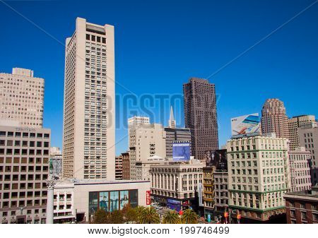 Business office Buildings and skyscrapers at The Union Square in San Francisco - October 8. 2014 - The central square of San Francisco, Market Street, San Francisco is the cultural, commercial, and financial center of Northern California