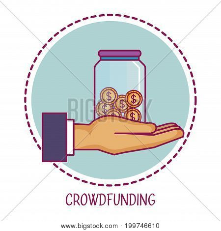crowdfunding hand container money cooperation vector illustration