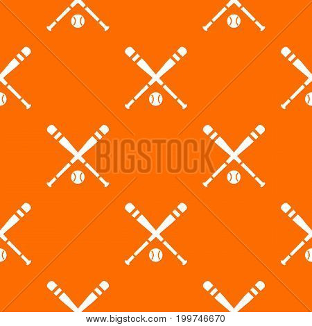 Baseball bat and ball pattern repeat seamless in orange color for any design. Vector geometric illustration