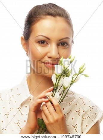 young happy woman with white flowers isolated on white