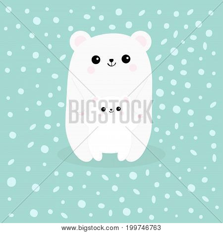 Polar white small little bear cub. Reaching for a hug. Cute cartoon character icon. Mother hugging baby Arctic animal collection Flat design. Winter blue background with snow flake. Vector illustrator