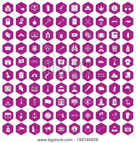 100 crime investigation icons set in violet hexagon isolated vector illustration