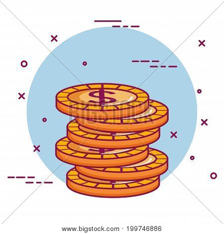 crowdfunding stack dollar coins money vector illustration