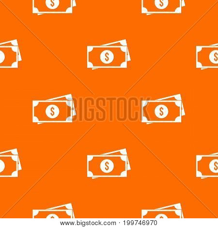 American dollars pattern repeat seamless in orange color for any design. Vector geometric illustration