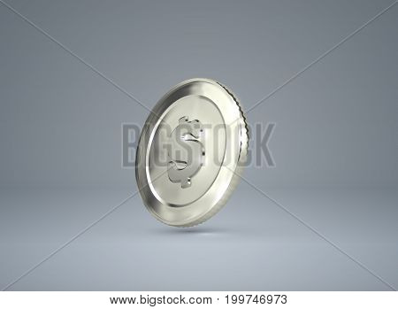 Money. 3d silver coin with dollar sign. Vector illustration. Financial or business concept.