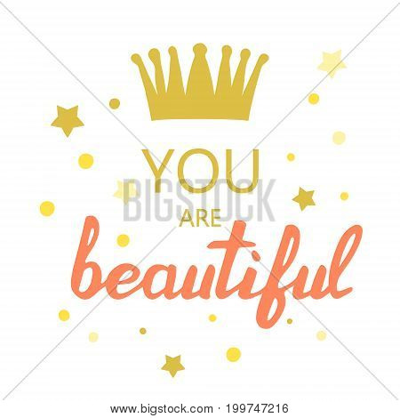 you are beautiful slogan vector for kids shirt print design
