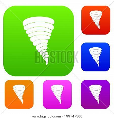 Tornado set icon in different colors isolated vector illustration. Premium collection