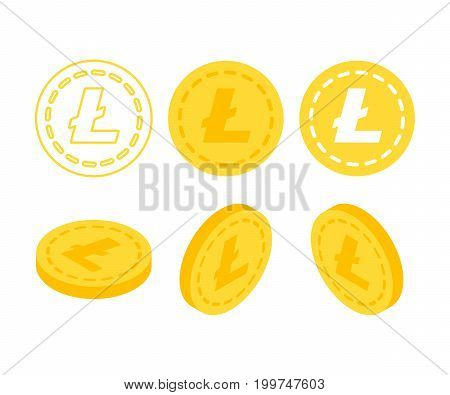 Litecoin 3d flat isometric money. Set of icons coins on the isolated white background.