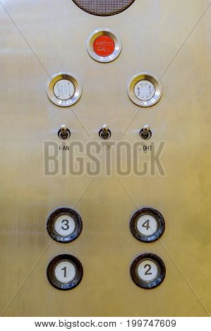 Old Buttons Of Elevator Control Panel In Analog Retro Style