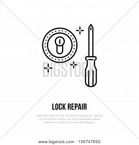 Door locks installation logo, repair flat line icon. Lock cylinder replacement, core fixing thin linear sign for handyman service.