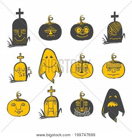 Horror doodle Avatars with different emotions. Halloween set of icons. Sketch styled vector illustration. Grave, ghost, pumpkin cartoon characters.