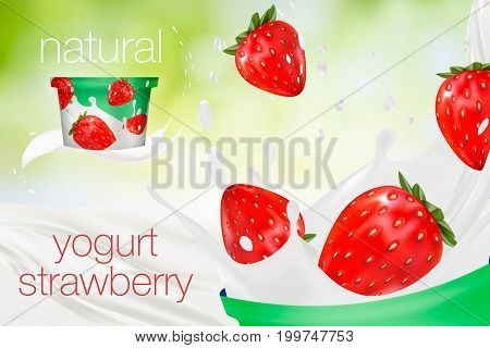 Milk ad or 3d strawberry yogurt flavour promotion. milk splash with fruits isolated on green nature background. instant oatmeal advertising, open field background, 3d illustration.
