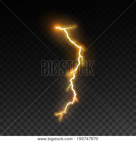 Realistic shiny lightning isolated on checkered transparent background. Thunderbolt or lightning visual effect for design. Vector illustration. Electric discharge effect