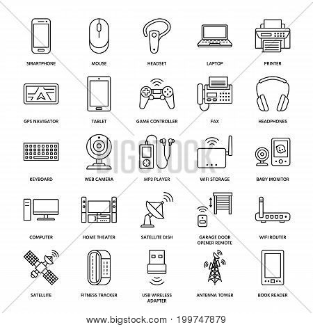 Wireless devices flat line icons. Wifi internet connection technology signs. Router, computer, smartphone, tablet, laptop, printer, satellite. Vector linear illustration linear for electronic store.