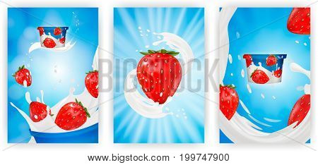 Milk ad or 3d strawberry yogurt flavour promotion set. milk splash with fruits isolated on blue background. instant oatmeal advertising, open field background, 3d illustration.