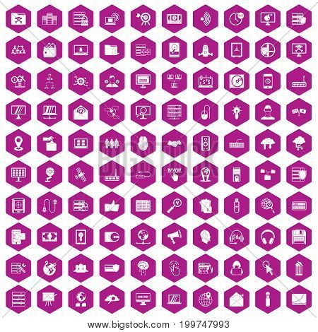 100 cyber security icons set in violet hexagon isolated vector illustration