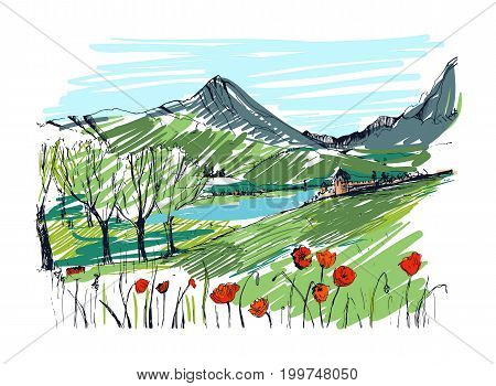 Remarkable Georgian landscape sketch. Colorful hand drawn outline vector illustration
