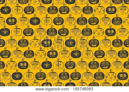 Pumpkin graphic ink vector illustration, hand drawn engraved vintage sketch, seamless pattern for restaurant menu, symbol autumn holiday, wallpaper, textile, package design. Seamless pattern on yellow