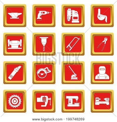 Metal working icons set in red color isolated vector illustration for web and any design