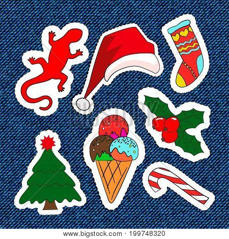 Merry Christmas embroidery patches. Candy, Santa Claus, tree, candy. Set of Happy New Year stickers, pins, magnets in cartoon comic style