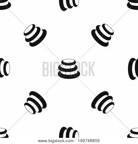 Stack of basalt balancing stones pattern repeat seamless in black color for any design. Vector geometric illustration