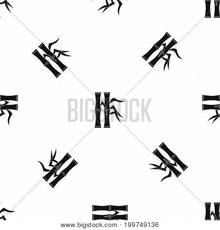 Bamboo stems pattern repeat seamless in black color for any design. Vector geometric illustration
