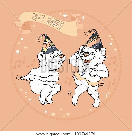 Two funny bears in party hats are dancing. Words on ribbon Let s dance. Vector illustration. Cute animals cartoon character.