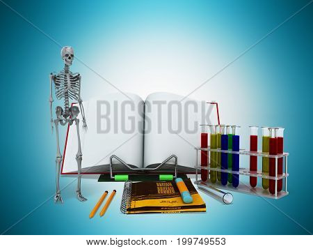 Concepts Of School And Education Biology Test Tubes Skeleton 3D Render On Blue Background