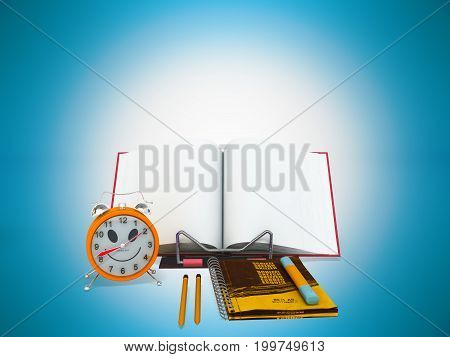 Concept Of School And Education Lesson Microscope Notebook 3D Rendering On Blue Background