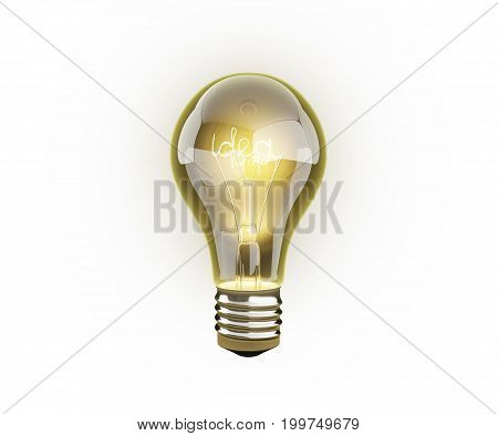Idea Light Bulb On White Background 3D Render