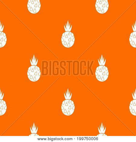 Pitaya, dragon fruit pattern repeat seamless in orange color for any design. Vector geometric illustration